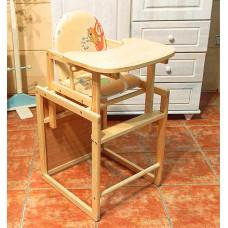 Trona infantil convertible en mesa y silla de madera maciza de pino