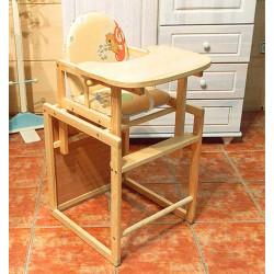 Trona infantil convertible en mesa y silla de madera maciza de pino Mobiliario y decoración