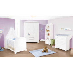 Habitación infantil cuna bebe 140 x 70 Clara G abeto blanco / decapé Mobiliario y decoración
