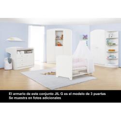 Habitación infantil con cuna bebe 140 x 70 JIL G melamina blanca Mobiliario y decoración
