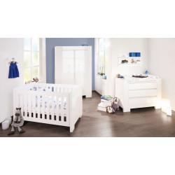 Habitación infantil con cuna bebe 140 x 70 SKY B Blanco / Brillo MDF Mobiliario y decoración