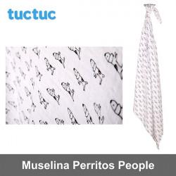 TucTuc manta muselina Perritos People Canastilla