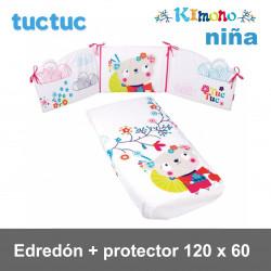 TucTuc Edredón + Protector Cuna 120 x 60  Kimono Niña Edredones y protectores