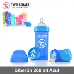 Twistshake biberón 260 ml anticólico con dosificador Azul Alimentación