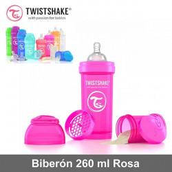 Twistshake biberón 260 ml anticólico con dosificador Rosa Alimentación