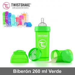 Twistshake biberón 260 ml anticólico con dosificador Verde Alimentación