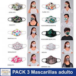 Mascarillas PACK de 3 ud adulto regulable y anatómica 100% algodón COVID-19